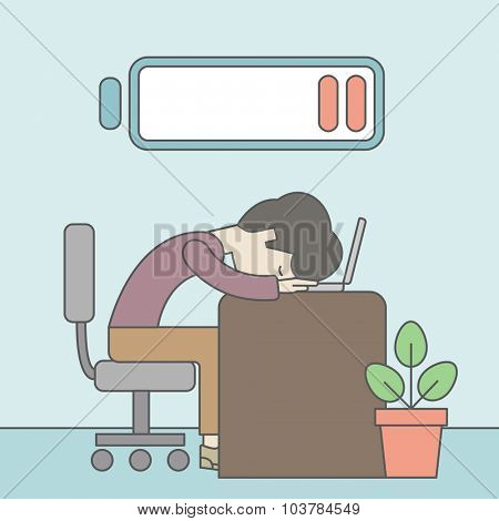 Tired employee sitting, lying on table with low power battery sign over his head. Vector line design illustration. Square layout.