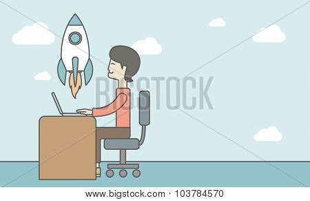 An asian man sitting at the table in front of his laptop and flying rocket on the background. Start up business concept. Vector line design illustration. Horizontal layout with a text space.