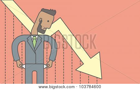 An african businessman with falling down graph is confused. Bankruptcy concept. Vector line design illustration. Horizontal layout with a text space.