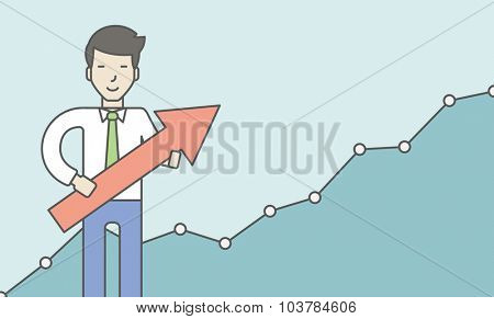 Cheerful asian businessman holding arrow on the growth graph background. Business growth concept. Vector line design illustration. Horizontal layout with a text space.