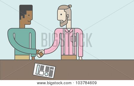 Two men standing facing each other handshaking for the successful business deal. Business partnership concept. Vector line design illustration. Horizontal layout with a text space.