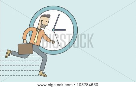 Businessman running on clock background. Vector line design illustration. Horizontal layout with a text space.