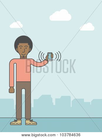 An office worker holding his smartphone vibrating. Vector line design illustration. Vertical layout with a text space.