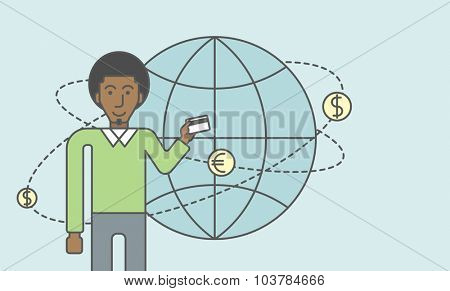 A black man holding credit card stands near money coins flying around the globe. Ecommerce business concept. Vector line design illustration. Horizontal layout with a text space.