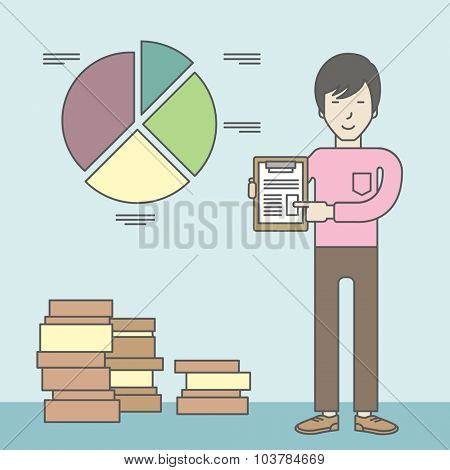 An asian man standing inside office showing his complete paperwork. Reporting concept. Vector line design illustration. Square layout.