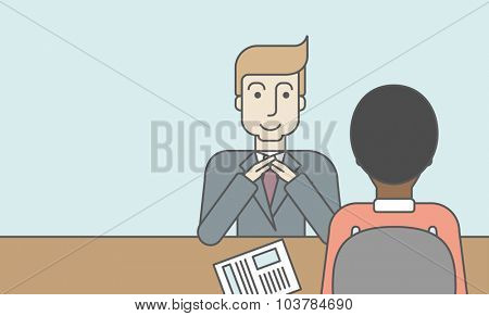A smiling caucasian human resource manager interviewed the applicant with his curriculum vitae for the job vacancy. Employment concept. Vector line design illustration. Horizontal layout with a text