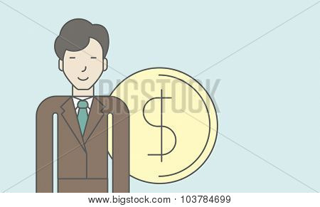 An asian businessman standing with dollar coin beside him. Successful business concept. Vector line design illustration. Horisontal layout with a text space.