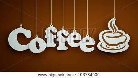 Coffee - white letters hanging on the ropes.