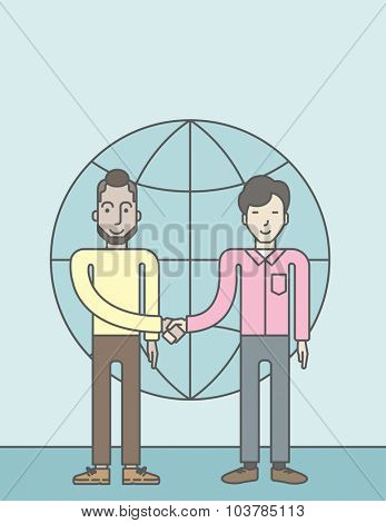 Two men standing and handshaking for the successful business deal on the globe background. Business partnership concept. Vector line design illustration. Vertical layout with a text space.