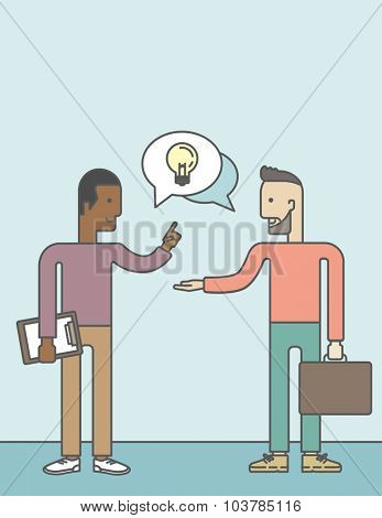 Two happy men facing each other sharing ideas with speech bubble on the top of their heads. Business partnership concept. Vector line design illustration. Vertical layout with a text space.
