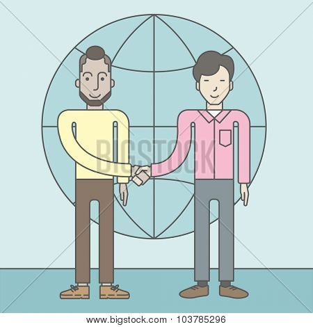 Two men standing and handshaking for the successful business deal on the globe background. Business partnership concept. Vector line design illustration. Square layout.