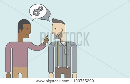 Two happy men facing each other sharing ideas with speech bubble on the top of their heads. Business partnership concept. Vector line design illustration. Horizontal layout with a text space.