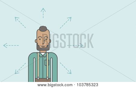 A black businessman with arrows around him. Vector line design illustration. Horizontal layout with a text space.