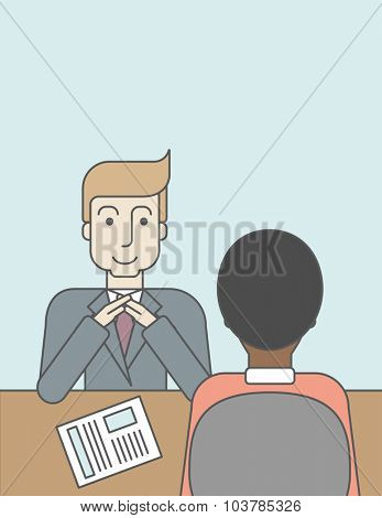 A smiling caucasian human resource manager interviewed the applicant with his curriculum vitae for the job vacancy. Employment concept. Vector line design illustration. Vertical layout with a text