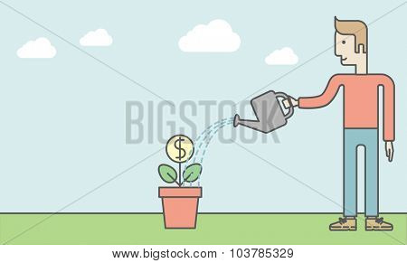 Man taking care of finances watering a money flower. Successful business concept. Vector line design illustration. Horizontal layout with a text space.