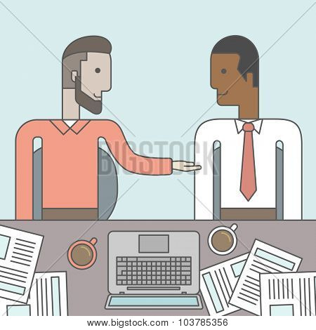 Two businessmen sitting while talking in front of laptop and documents. Business partnership concept. Vector line design illustration. Square layout.