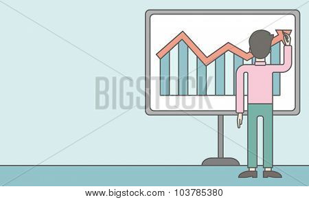 A businessman presenting his report through infographic. Reporting concept. Vector line design illustration. Horizontal layout with a text space.