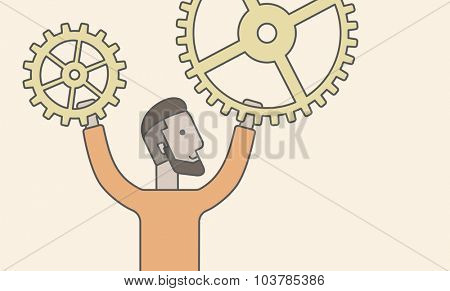 A caucasian hipster man holding gears. Vector line design illustration. Horizontal layout with a text space.