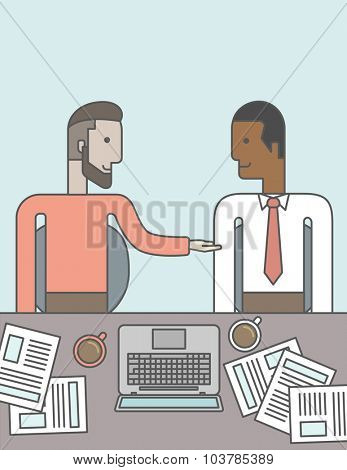 Two businessmen sitting while talking in front of laptop and documents. Business partnership concept. Vector line design illustration. Vertical layout with a text space.