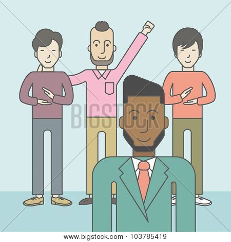 Group of happy businessmen standing. Business partnership concept. Vector line design illustration. Square layout.