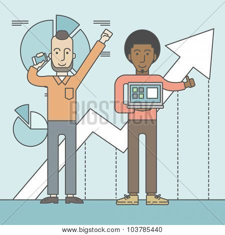 Two cheerful businessmen with arms up enjoying their success shown in the graph at their back. Successful business concept. Vector line design illustration. Square layout.