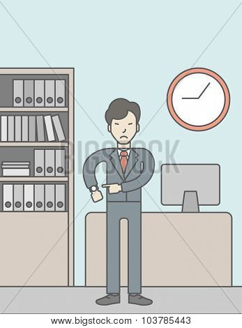 A very angry boss standing in office and pointing at wrist watch. Deadline concept. Vector line design illustration. Vertical layout with a text space.