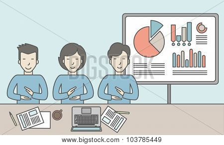Business people sitting at the office with graphs on the whiteboard behind them. Reporting concept. Vector line design illustration. Horizontal layout with a text space.
