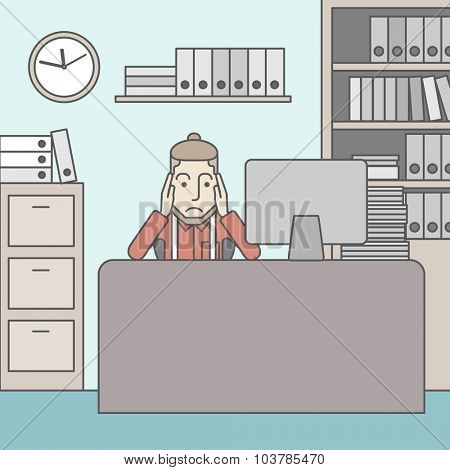 Tired caucasian employee with beard sitting at the table in office. Vector line design illustration. Square layout.