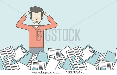 An asian man has a lot of works to do with papers in front of him. Disappointment concept. Vector line design illustration. Horizontal layout with a text space.