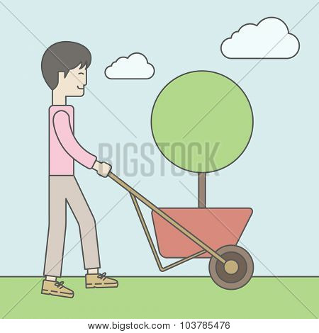 An asian businessman pushing the cart with green tree. Business growth concept. Vector line design illustration. Square layout.