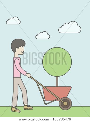 An asian businessman pushing the cart with green tree. Business growth concept. Vector line design illustration. Vertical layout with a text space.