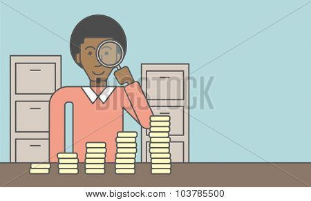 A african-american man holding magnifier and looking at stacks of golden coins. Vector line design illustration. Horizontal layout with a text space.