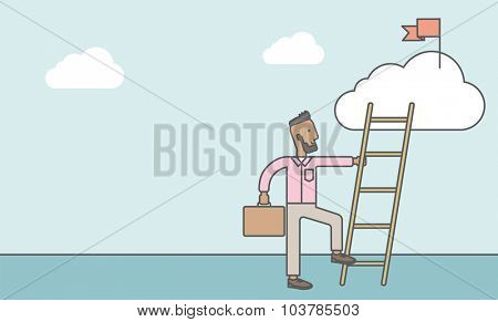 An african man standing and holding the ladder to get the red flag on the cloud. Success career concept. Vector line design illustration. Horizontal layout with a text space.