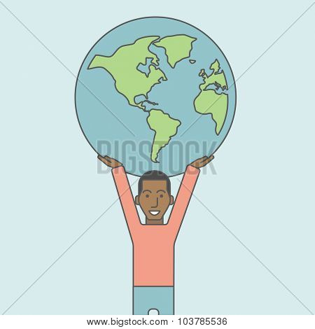 An african businessman carrying big globe. Vector line design illustration. Square layout.