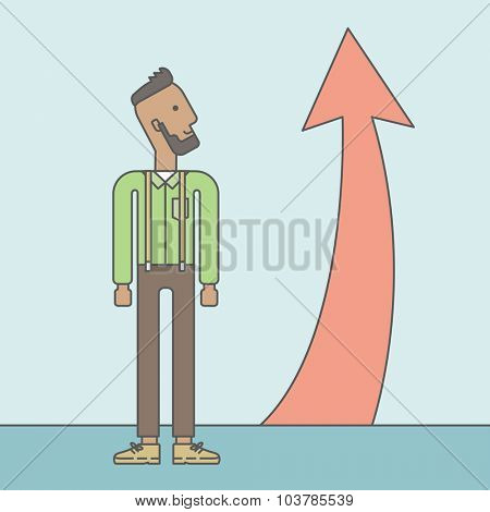 Cheerful african businessman looking at arrow going up. Successful business concept. Vector line design illustration. Square layout.