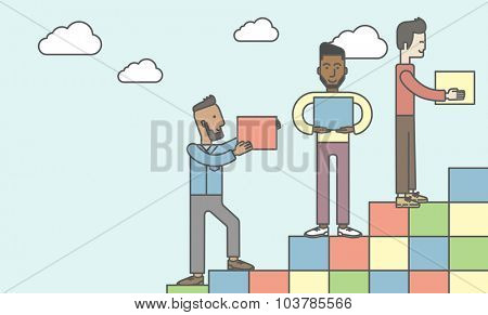 Three men carrying blocks and putting them one by one. Business partnership concept. Vector line design illustration. Horizontal layout with a text space.