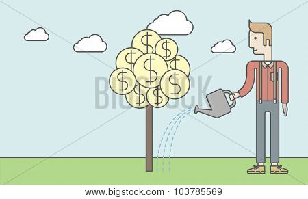 Man taking care of finances watering a money tree. Successful business concept. Vector line design illustration. Horizontal layout with a text space.