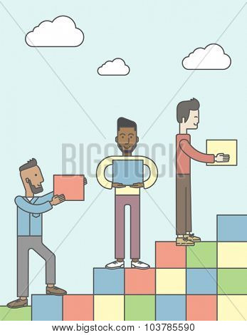 Three men carrying blocks and putting them one by one. Business partnership concept. Vector line design illustration. Vertical layout with a text space.