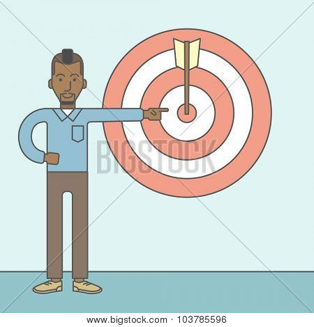 An african businessman standing and pointing at a target board with arrow. Vector line design illustration. Square layout.