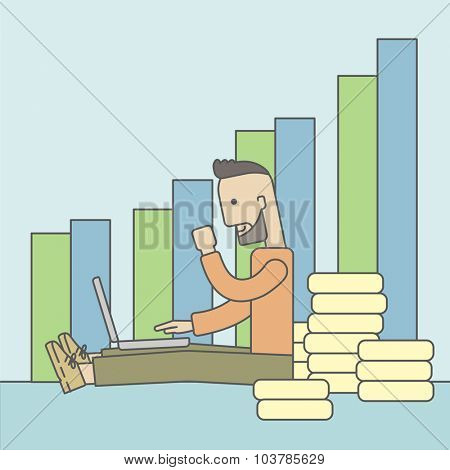 A successful caucasian businessman sitting  in front of a bar graph with pile of gold at his back and a laptop on his lap. Vector line design illustration. Square layout.