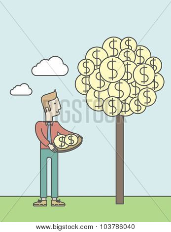 A caucasian man standing and catching dollar coin from money tree. Business growth concept. Vector line design illustration. Vertical layout with a text space.