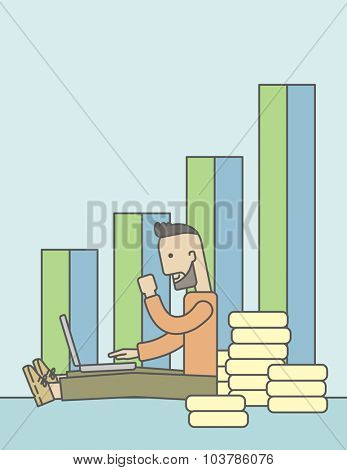 A successful caucasian businessman sitting  in front of a bar graph with pile of gold at his back and a laptop on his lap. Vector line design illustration. Vertical layout with a text space.