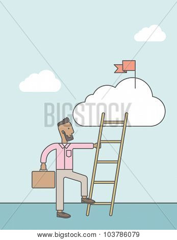 An african man standing and holding the ladder to get the red flag on the cloud. Success career concept. Vector line design illustration. Vertical layout with a text space.