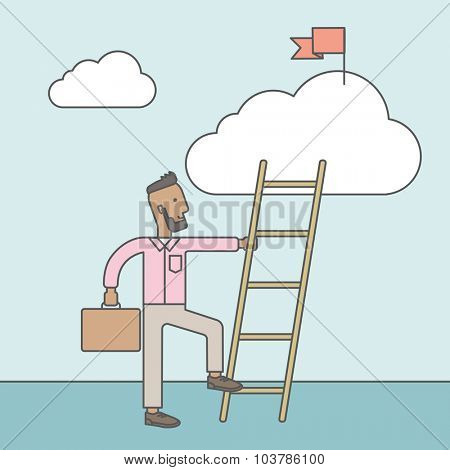 An african man standing and holding the ladder to get the red flag on the cloud. Success career concept. Vector line design illustration. Square layout.