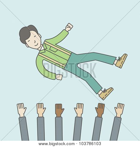 An asian businessman get thrown into the air by coworkers during celebration. Successful business concept. Vector line design illustration. Square layout.