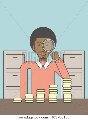 A african-american man holding magnifier and looking at stacks of golden coins. Vector line design illustration. Vertical layout with a text space.