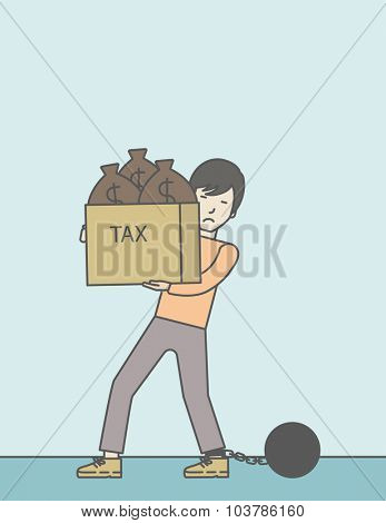 Chained to a large ball asian businessman carrying heavy box with bags full of taxes. Vector line design illustration. Vertical layout with a text space.