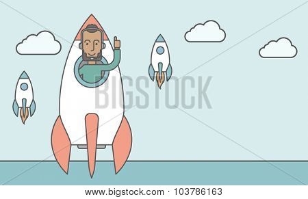 A black man flying in the rocket raising his hand in the air. Start up business concept. Vector line design illustration. Horizontal layout with a text space.