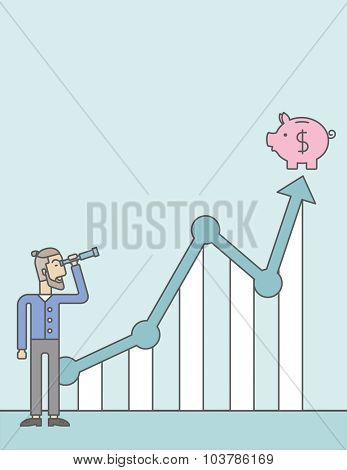 A caucasian hipster man with beard looking through telescope at piggy bank standing at the top of growth graph. Growing business concept.  Vector line design illustration. Vertical layout with a text