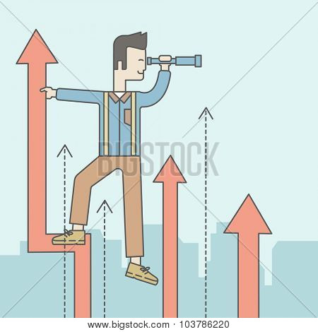 An asian businessman standing on the top of graph arrow looking through telescope. Business development concept.  Vector line design illustration. Square layout.